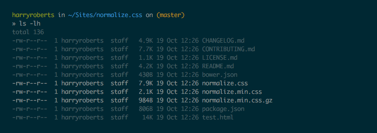 Screenshot showing filesizes of compressed and uncompressed versions of Normalize.css
